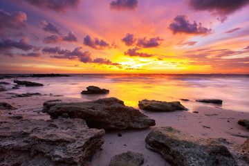 Fototapeta Tropical beach at sunset.