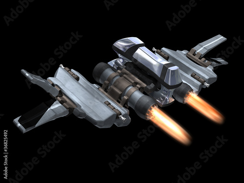 Back and above view of a StarFighter in action Wallpaper Mural