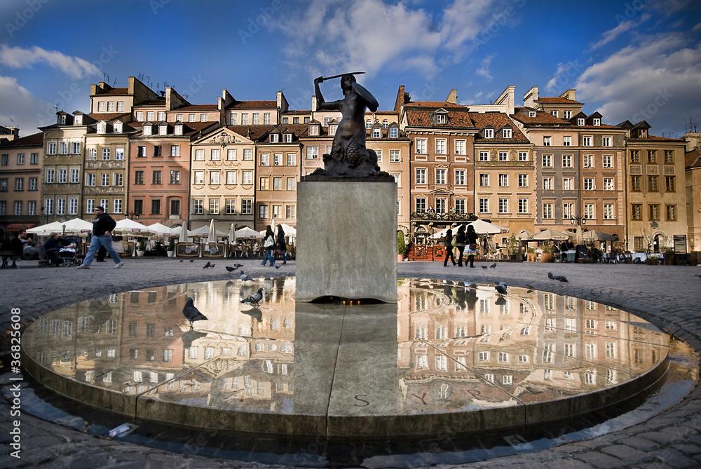 Fototapety, obrazy: Syrenka na Rynku Starego Miasta w Warszawie
