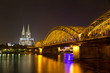Cologne Cathedral at night, Cologne (Koeln), Germany