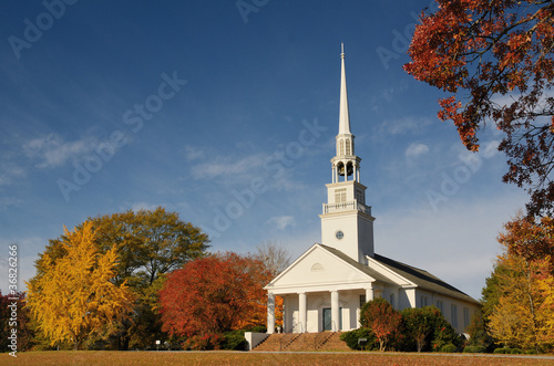 Canvas Print church in a rural setting