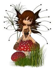 Cute Toon Autumn Fairy And Toadstool