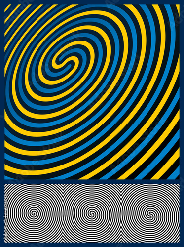 Poster Psychedelique Optical Illusion Background. Three spiral patterns. Vector Illus