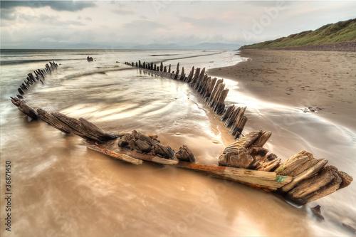 Poster Naufrage The Sunbeam ship wreck on the Rossbeigh beach, Ireland