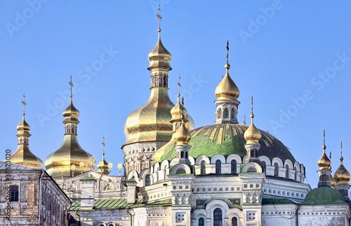 Staande foto Kiev Golden cupolas of Assumption cathedral in Kiev Pechersk Lavra