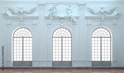 Montage in der Fensternische Schloss Barocke Stuckateurkunst