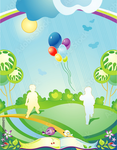 Poster Oiseaux, Abeilles Landscape with silhouettes of children and departing balloons