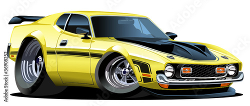 Papiers peints Cartoon voitures Vector cartoon muscle car