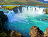 River and Wide waterfall in Iceland