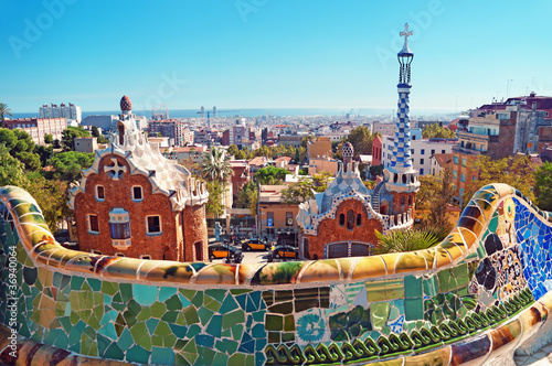 Photo  Park Guell in Barcelona. Barcelona - Spain