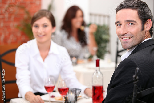 Couple dining Canvas Print