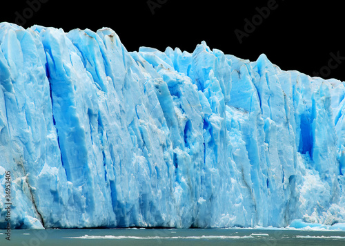 Poster Glaciers Blue icebergs isolated on black
