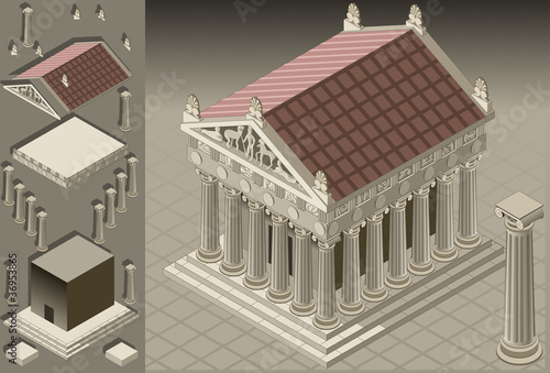 Photo isometric Greek Temple (Ionic Architecture)