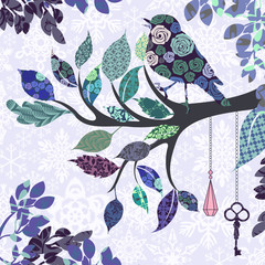 Panel Szklany Ptaki Retro background of tree branch with leaves and bird of patches