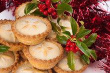 Christmas Mince Pies With Holly And Decorations