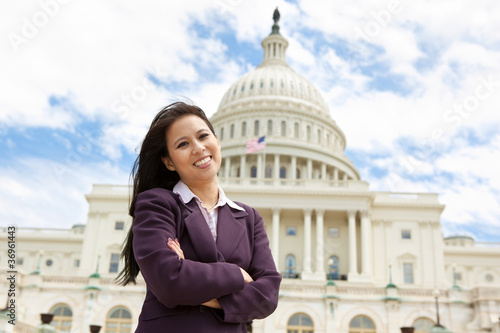 Asian business woman on Capitol Hill Fotobehang