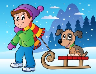 Zimski prizor s dječakom i sanjkama