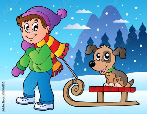Poster Dogs Winter scene with boy and sledge