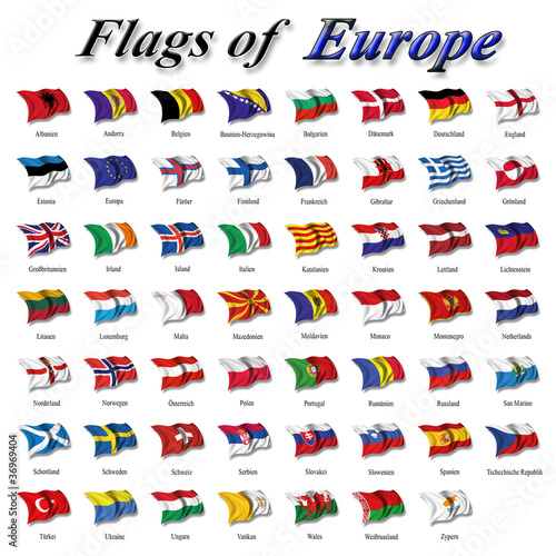 Fotografie, Tablou  Flags of Europe