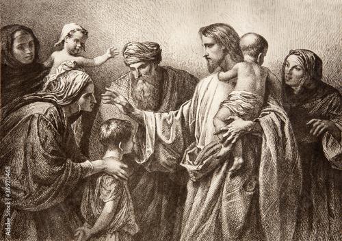 Obraz Jezus i dzieci - fototapety do salonu