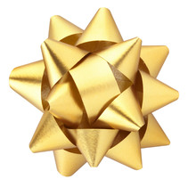 Gold Christmas Gift Bow Isolated With Clipping Path