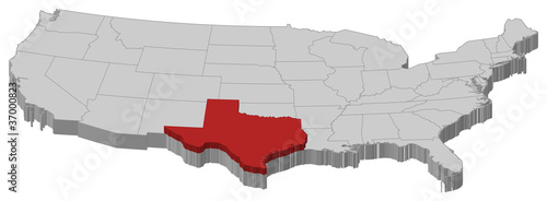Map of the United States, Texas highlighted - Buy this stock vector ...
