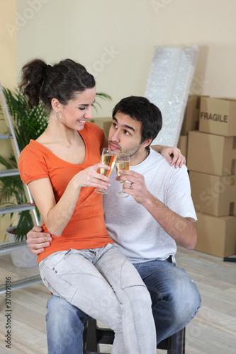 Fotografie, Obraz  Celebration toast on moving day