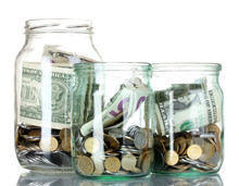 Glass Bank For Tips With Money...