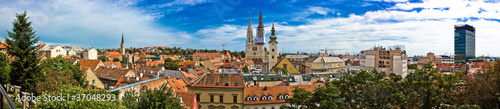 Zagreb cityscape panoramic view at old town center