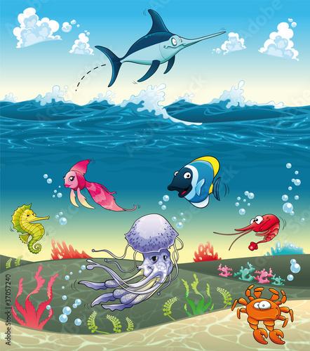 Obraz W morzu z rybami i innymi zwierzętami. Ilustracji wektorowych - fototapety do salonu
