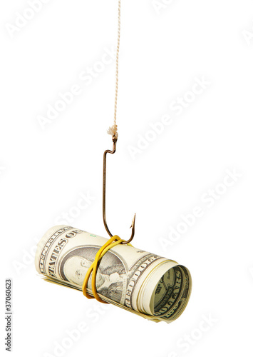 The concept. Dollars as a bait hang on a hook Fototapeta