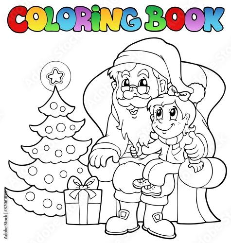Spoed Foto op Canvas Doe het zelf Coloring book Santa Claus theme 6