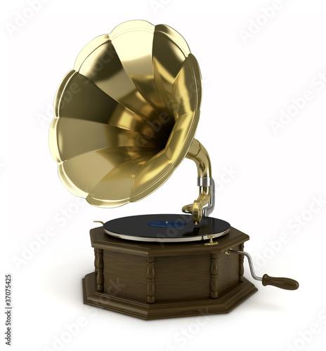 Gramophone sur fond blanc 1 Canvas-taulu