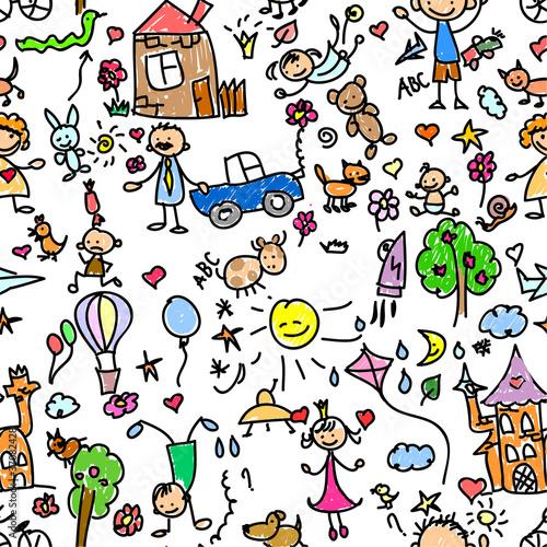 Foto op Canvas Op straat детский рисунок бесшовных
