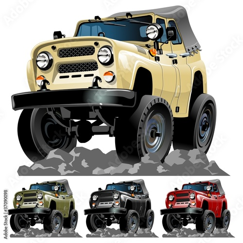 Deurstickers Cartoon cars Vector cartoon jeep one click repaint