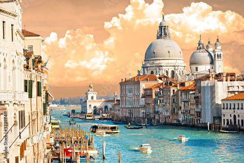 Poster Venise Venice, view of grand canal and basilica of santa maria della sa