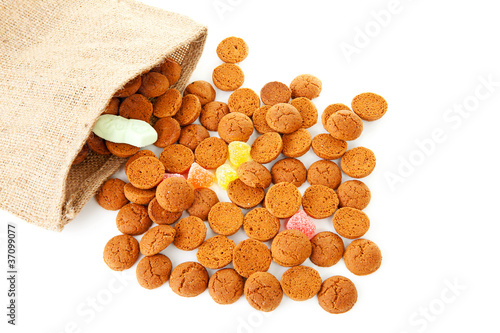 bag with typical dutch sweets: pepernoten (ginger nuts