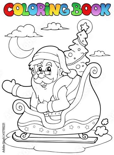 Türaufkleber Zum Malen Coloring book Santa Claus theme 8