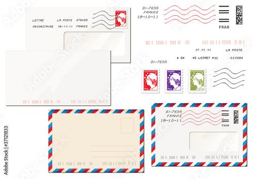 Fotografia, Obraz  enveloppes et timbres français