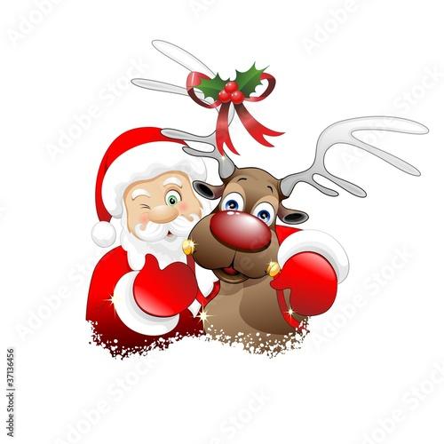 Immagini Natale Renne.Babbo Natale E Renna Cartoon Santa Claus And Reindeer Vector