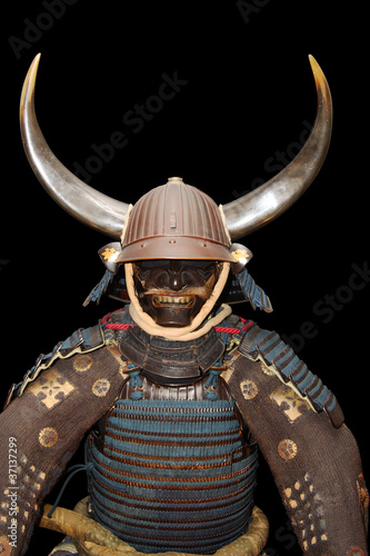 Photo  Image of samurai armour on black with clipping path