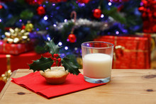 Glass Of Milk And A Mince Pie For Santa