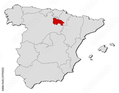 Map of Spain, La Rioja highlighted