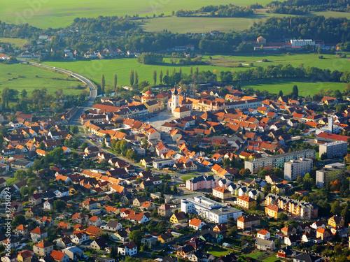 Photo Aerial photo of city in sunset light, Dobrany, Czech republic