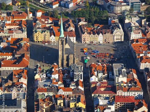 Aerial photo of historical center city Pilsen, Czech republic Wallpaper Mural
