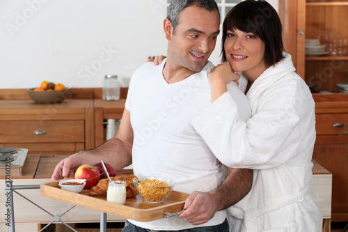 Fotografie, Obraz  portrait of a couple at breakfast