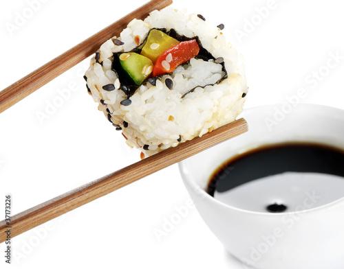 Deurstickers Sushi bar sushi on chopstick