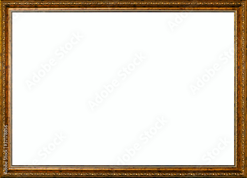 aged vintage golden rustic high quality wide frame isolated over ...