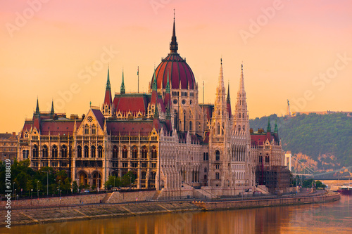Canvas Prints Budapest The House of Parliament, Budapest, at sunrise