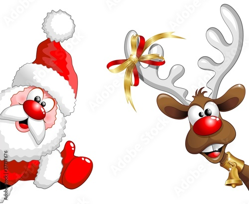 Canvas Prints Draw Renna e Babbo Natale ok-Funny Santa Claus and Reindeer